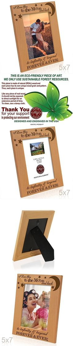 Kate Posh - I love you to the moon and back, to infinity & beyond, forever & ever - Engraved Solid Wood Picture Frame (5x7-Vertical)