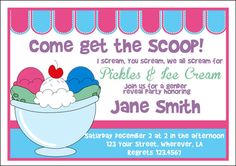 Pickles and Ice Cream Shower Invitation by letspartynola on Etsy