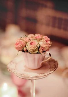 Ana Rosa Who doesn't love a cup of roses Faith Is The Substance, Deco Rose, Bridesmaid Luncheon, Bridal Luncheon, Vintage Tea, Vintage Pink, High Tea, Pink Roses, Pretty In Pink