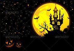 Halloween background with bat, pumpkin, castle, element for design, vector illustration