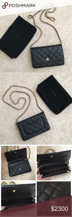 Chanel Classic Wallet on Chain WOC Caviar Black Perfect condition. Comes with authenticity card and dust bag. Long chain for crossbody or shoulder. You can wear as a clutch too! Wallet on Chain classic quilted! CHANEL Bags Mini Bags