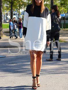 White Black Round Neck Color Block Dress 13.99