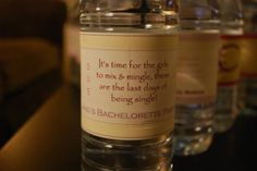 Goodies for my Bachelorette Party (picture heavy-sorry) - Weddingbee-Boards Bachelorette Party Pictures, Custom Water Bottle Labels, Candle Jars, Wedding Planning, Goodies, Diy Projects, Water Bottles, Day