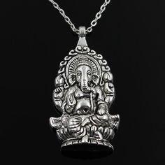 ganesha buddha elephant pendant chain silver necklace