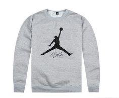 9cfe6f02 Mens Air Jordan The Jumpman Flight Brushed Print Logo Best Quality Fashion  Sports Crewneck Sweatshirt - Grey