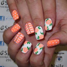 flower nails  pokadot nails  stripe nails pretty nails