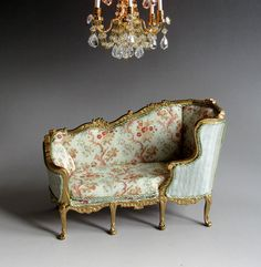 1:12th Scale ~ Dolls House ~ Artisan Louis XV Giltwood Veilleuse Sofa ~ Susan Bembridge Silk