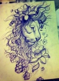 Lion and flowers tatto