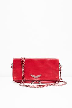 Zadig & Voltaire's Rock Bag for woman, cow leather. Available in red Sacs Design, Red Bags, Prada Bag, Vintage Bags, Get Dressed, Miu Miu, Burberry, Zip Around Wallet, Topshop