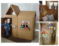 Compartir con los niños al crear esta casa de cartón