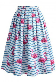 Flamboyantly Flamingo Printed Midi Skirt - CHICWISH SKIRT COLLECTION - Skirt - Bottoms - Retro, Indie and Unique Fashion