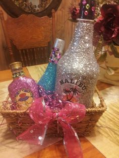 Bling out liquor bottles for presents. I made this for my sister in laws 30th bday