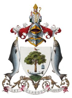 Latin: Kentigernus), known as Mungo, Glasgow Coat of Arms, historical arms from was an apostle of the British Kingdom of Strathclyde in the late century, and the founder and patron saint of the city of Glasgow. Saint Kentigern, Family Crest, Crests, Coat Of Arms, Celtic, Creations, Birds, Illustration, Glasgow Scotland
