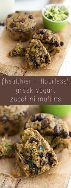 Flourless and healthy Greek yogurt zucchini muffins (I would use coconut sugar instead of brown sugar)