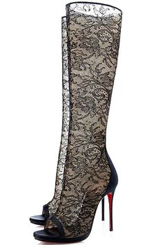 Christian Louboutin Alta Dentelle Lace Boots in Black just like Selena Gomez wore
