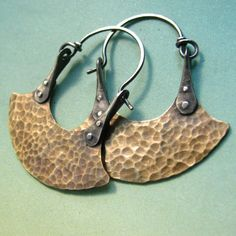 Mixed Metal Tribal Earrings - Bronze And Sterling Silver Riveted Blade Hoops - Rustic Riveted Earrings Artisan Metalwork Jewelry
