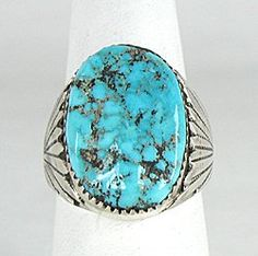 Authentic Native American Sterling Silver Kingman Turquoise nugget ring by Zuni Robert and Bernice Leekya Native American Wisdom, Native American Rings, American Indian Art, Native American Indians, Kingman Turquoise, Turquoise Bracelet, Size 10 Rings, Nativity, Sterling Silver