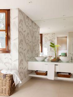 Baño con papel pintado tropical w00423818 O
