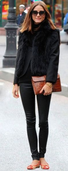 #AutumnFashion - Olivia Palermo looking gorgeous! // CelebrityStyle Fur AllBlack LongBob Clutch //