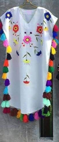 Floral hand Embroidered Bohemian Linen Folk Embroidery Midi Kaftan Dress Boho hippie. Sizes - XS-XXL 0027