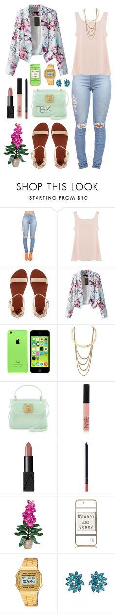 """Dressy casual ."" by threadsbykeiko ❤ liked on Polyvore featuring Vero Moda, 2b bebe, Charlotte Russe, Furla, NARS Cosmetics, Nearly Natural, River Island, Casio and Forever New"