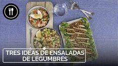 Tres ensaladas FÁCILES y RÁPIDAS con LEGUMBRES | Directo al Paladar Finger Foods, Tacos, Mexican, Vegetarian, Gazpacho, Meat, Chicken, Ethnic Recipes, Gratin