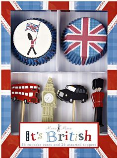 The Union Jack, Beefeaters, London Bus and Taxis and Big Ben, where else could it be but Britain. Perfect for a British bash with 12 each two styles of cupcake cases and six each of four styles of toppers. Comes in a stylish presentation box. British Party, British Wedding, British Cake, British Pub, British Style, Royal Cupcakes, Themed Cupcakes, Pippa Middleton, Union Jack
