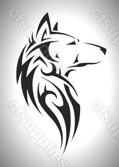 Tribal Wolf Stencil in sheet sizes Tribal Animal Tattoos, Tribal Drawings, Tribal Wolf Tattoo, Small Wolf Tattoo, Wolf Tattoo Sleeve, Wolf Tattoo Design, Wolf Tattoos, Tribal Art, Wolf Tattoo Back