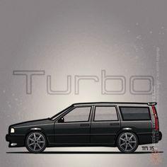 Black Volvo 855R Wagon Artwork – Illustration of a Volvo 855R Turbo Wagon by Tom Mayer, Monkey Crisis On Mars.