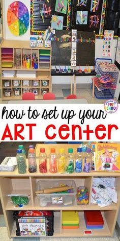 How to Set Up and Plan for your Art Center in an Early Childhood Classroom - Pocket of Preschool - How to set up the art center in your early childhood classroom (with ideas, tips, and book list) plus an art center freebie Preschool Rooms, Preschool Centers, Preschool Activities, Science Area Preschool, Toddler Daycare Rooms, Preschool Classroom Layout, Block Center Preschool, Preschool Set Up, Creative Curriculum Preschool