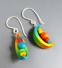 "Margit Böhmer, ""Curves"" earrings, #polymer #clay #earrings"