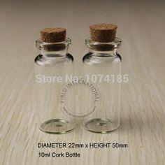50 unids 10 ml Pequeñas Botellas De Vidrio Frascos Viales Con Tapones de Corcho Tapón de la Botella De Vidrio Con Corcho Decorativo Tiny Mini Wising para Los Colgantes
