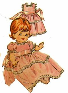 6993 Doll Clothes pattern for Baby Pebbles, Tiny Chatty Baby & more. A 1960s sewing Pattern.