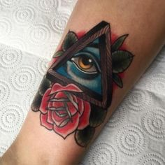 Neo traditional tattoo with rose