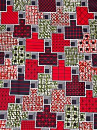 African Textiles Super Deluxe Wax Print Fabric Red Geometric Figure Party sw092280