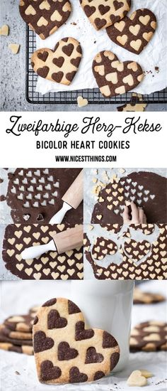 awesome Zweifarbige Herz Kekse Rezept, Bicolor Heart Cookies Read More by nat.- awesome Zweifarbige Herz Kekse Rezept, Bicolor Heart Cookies Read More by nataschasndersk - Cookies Et Biscuits, Sugar Cookies, Sweet Cookies, Baking Cookies, Cookies Receta, Cookie Recipes, Dessert Recipes, Cook Desserts, Sweet Desserts