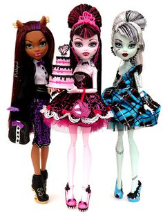 Monster high dolls I only have one and that was pretty cool her name is draculoura and she is a ghoul