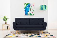 Canapea Fixa 3 locuri Malva Blue denim #homedecor #interiordesign #inspiration #livingroom #decor #decoration #vivonita Aqua, Love Seat, Living Room Decor, House Design, Couch, Pastel, Interior Design, Retro, Inspiration