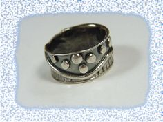 Oxidized Sterling Silver Handcrafted Band Ring - Beach Boardwalk Stepping Stones - Ocean Seashore 1970s Modernist - FREE SHIPPING by FindMeTreasures on Etsy
