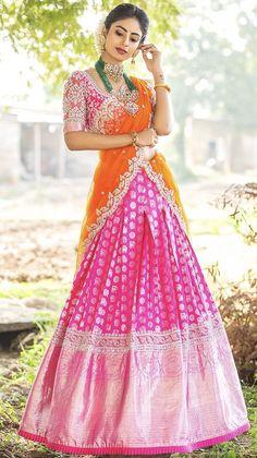 Lehenga Saree Design, Half Saree Lehenga, Lehnga Dress, Lehenga Designs, Saree Blouse Designs, Ghagra Saree, Indian Bridal Outfits, Indian Designer Outfits, Half Saree Designs