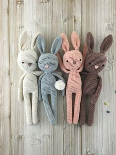 Lovely amigurumi bunny perfect soft cuddly toy for your child. Made from 100% cotton yarn. Stuffed with poly fiber fill. Measures about 36 cm from top to toe (incl. ears). Made in a smoke free home. Please note that this item is MADE TO ORDER so please allow between 2-4 days to ship. Choose option please! SAFETY NOTE: Please note that I have used safety eyes on this bunny - even though they have been attached securely this means that the bunny is suitable for children aged 3 years plus. I...