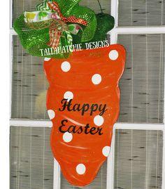 Easter Carrot Door Hanger Wood Easter by TallahatchieDesigns