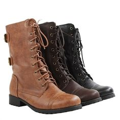 NEW Women Mid Calf Lace Rugged Military Combat Motorcycle Riding Winter Boot Sz