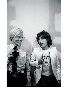 Buy this Andy Warhol and Mick Jagger print today at Morrison Hotel Gallery. Warhol poses with with a camera while Mick Jagger holds a skull replica. Mick Jagger, Jade Jagger, Disco Party, Pop Art, Art Marilyn Monroe, Foto Poster, Le Concert, Louise Brooks, The Rolling Stones