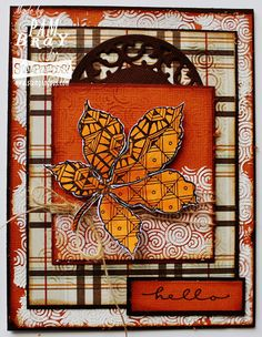 """Scrapbook Flair: Pam Bray Designs: """"Hello"""" Fall Card with Stampendous and Dreamweravers"""