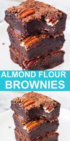 Rich and fudgy chocolate brownies made with almond flour. This healthier dessert is gluten free, and can be paleo, low carb or keto friendly. Super easy to make and everyone will love this decadent treat. Almond Flour Desserts, Almond Flour Brownies, Almond Flour Cakes, Almond Flour Recipes, Sugar Free Desserts, Low Carb Desserts, Chocolate Brownies, Espresso Brownies, Sugar Free Baking