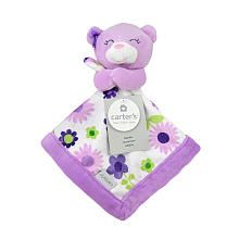 Carters Purple Bear Security Blanket with Plush