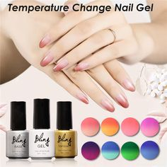 FOCALLURE Bling Nail Polish Change Colors UV Gel Hot Cold Changing Nice Gel Nail Art Design Gel Lacquer 6ML