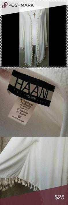 Plus Size Cardigan White, open cardigan. Not your regular cardigan w/ pom Fringe like details. Tops