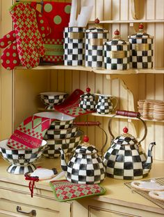 The canisters are cool, and I like the small tea kettle. I like the courtly check pattern and would use it in small quantities maybe.